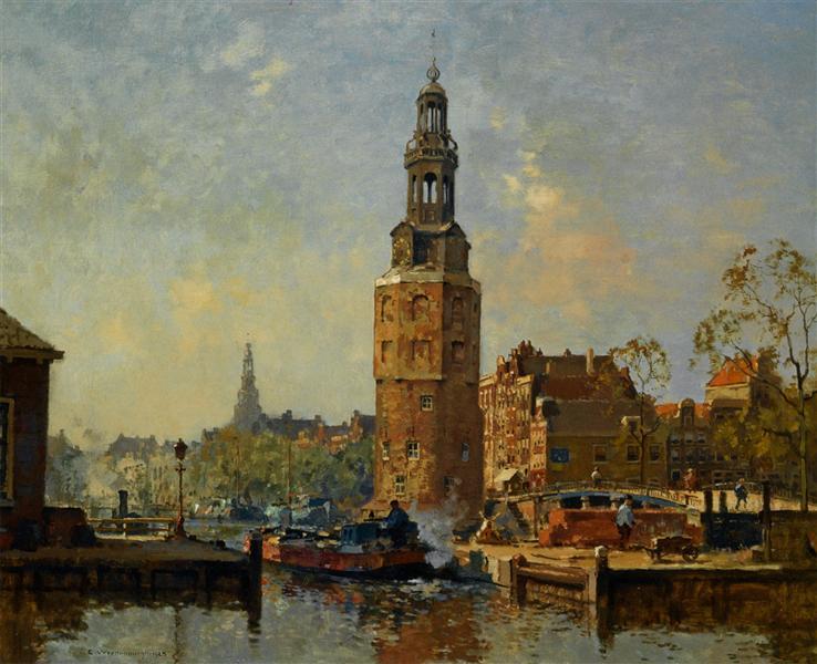 A View of the Montelbaanstoren Amsterdam, 1925 - Корнелис Вреденбург