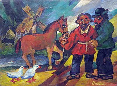 Gypsies with horse - David Burliuk