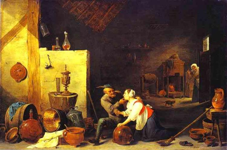 An Old Peasant Caresses a Kitchen Maid in a Stable - David Teniers the Younger