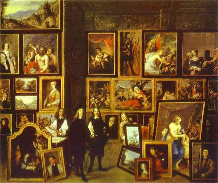 Archduke Leopold Wilhelm in his Picture Gallery, with the artist and other figures, 1653 - David Teniers el Joven