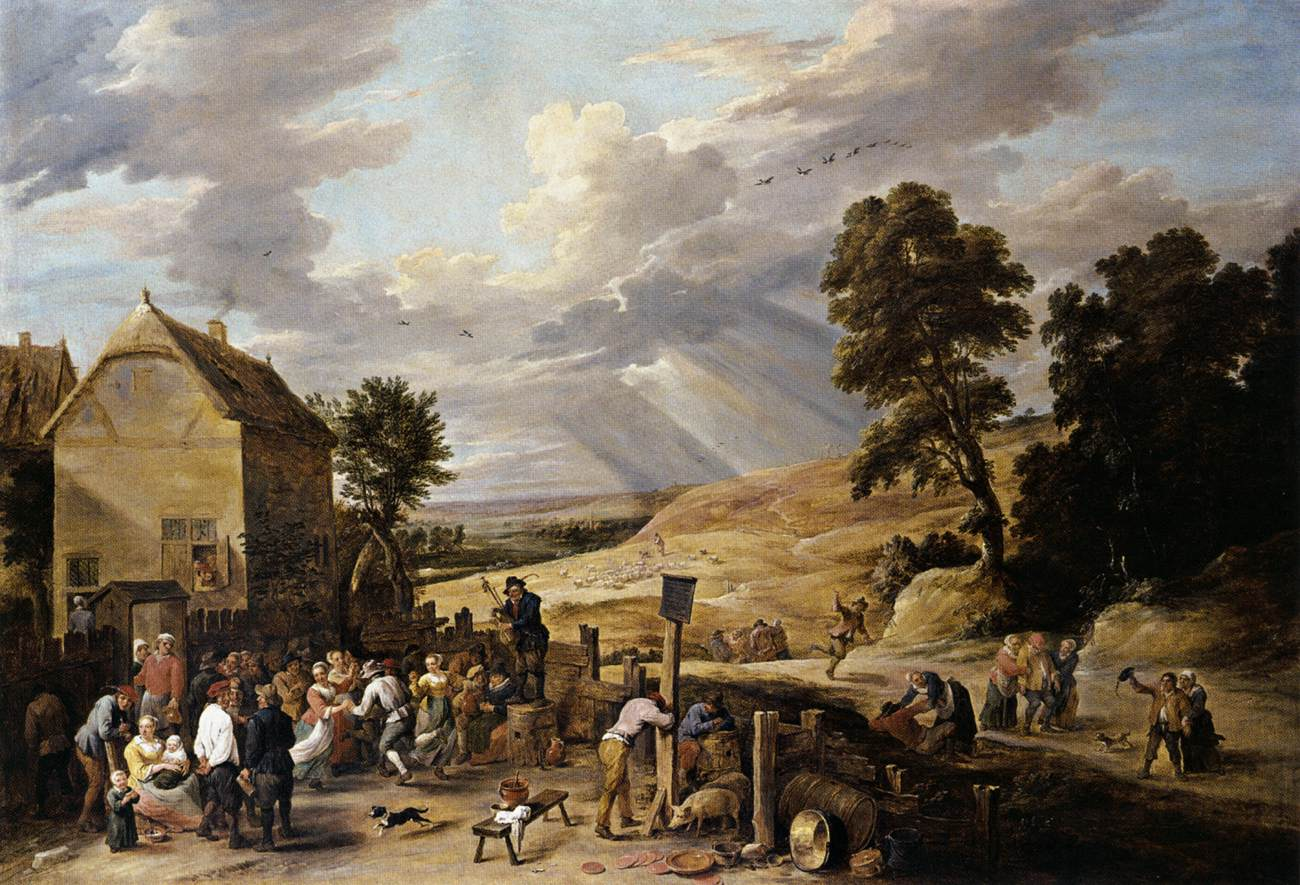 Peasants Dancing Outside An Inn C 1665 David Teniers