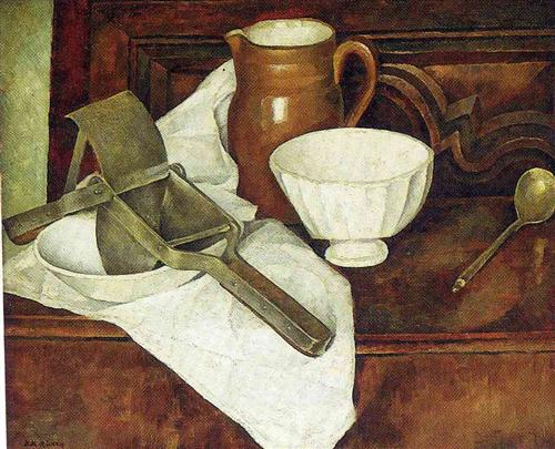 Still Life with Ricer also known as Still Life with Garlic Press - Diego Rivera