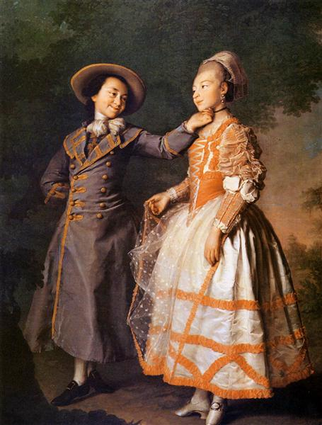 Portrait of E. N. Khruschova and Princess E. N. Khovanskaya - Dmitry Levitzky