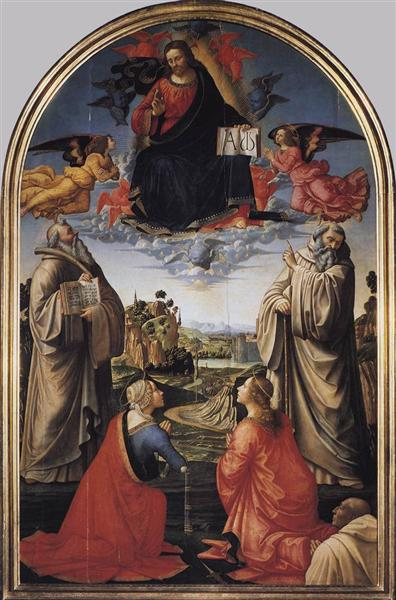 Christ in Glory with St. Benedict (c.480-547), St. Romuald (c.952-1027), St. Attinia, St. Grecinia and the donor, abbot Buonvicini, 1492 - Domenico Ghirlandaio