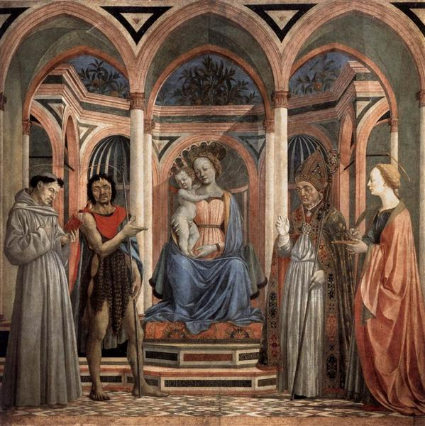 Madonna and Child with St. Lucy, St. Francis, St. Nicolas and St. John the Baptist, from Santa Lucia dei Magnoli, c.1445 - c.1447 - Domenico Veneziano