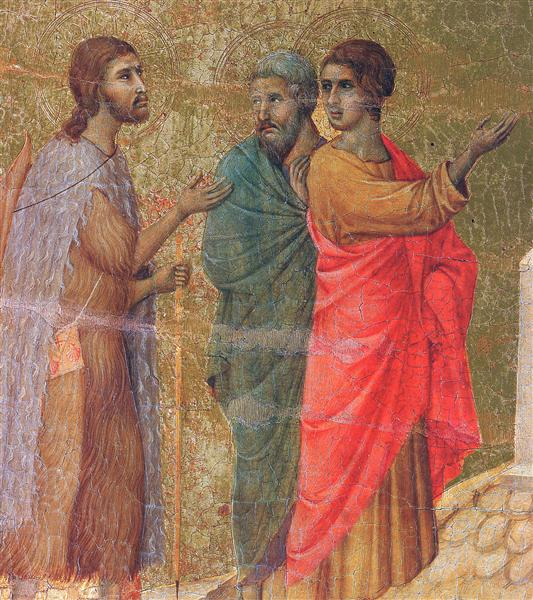 Christ on the road to Emmaus (Fragment), 1308 - 1311 - Duccio