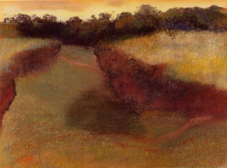 Wheatfield and Line of Trees, c.1890 - c.1893 - Edgar Degas