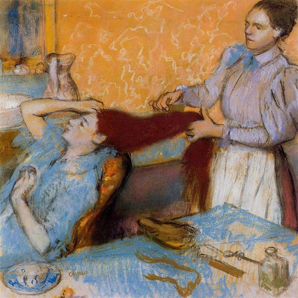 woman having her hair combed edgar degas wikiartorg