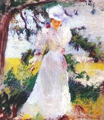My Wife Emeline in a Garden - Edmund Charles Tarbell