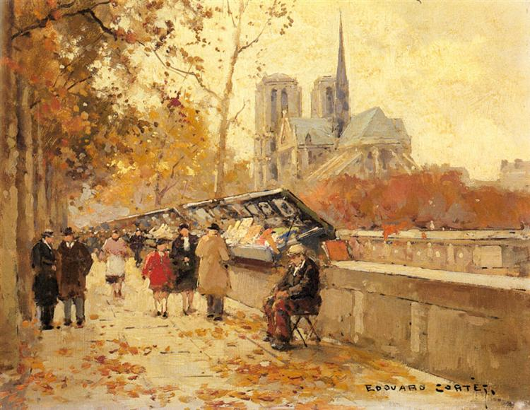 Booksellers along the Seine, Notre-Dame View - Edouard Cortes