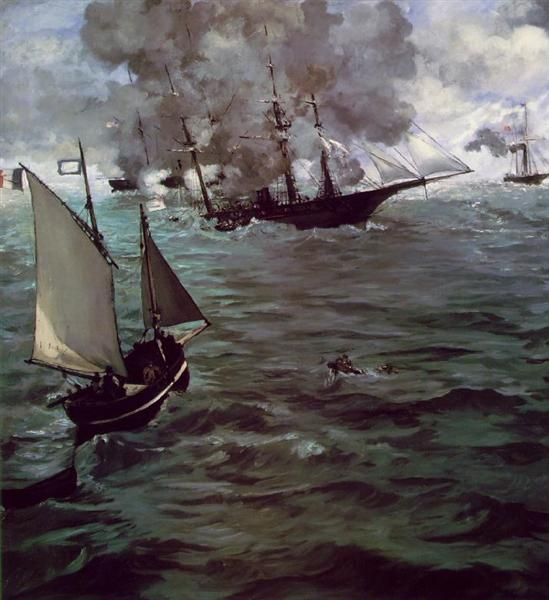 Battle of Kearsage and Alabama, 1864 - Edouard Manet