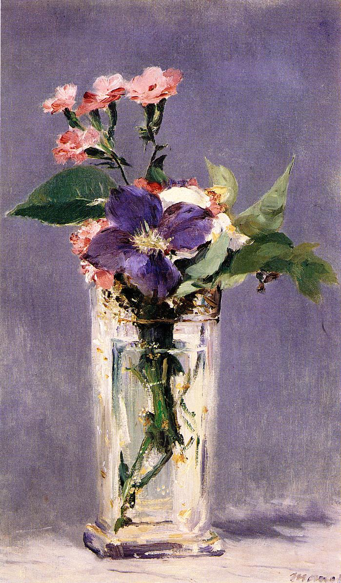 Pinks and clematis in a crystal vase c1882 edouard manet pinks and clematis in a crystal vase c1882 edouard manet floridaeventfo Image collections