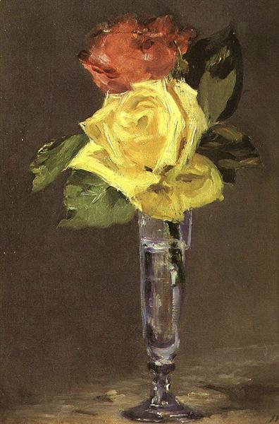 Roses in a Champagne Glass, c.1882 - Edouard Manet