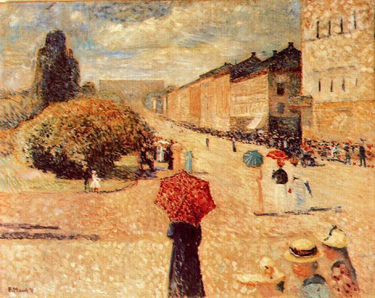 Spring Day on Karl Johan Street, 1890 - Edvard Munch