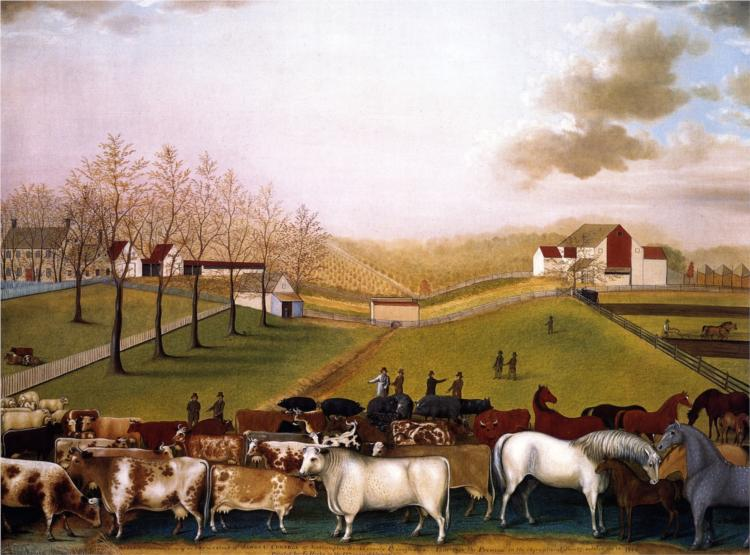 An Indian Summer View of the Farm & Stock of James C. Cornell, 1848 - Edward  Hicks - WikiArt.org