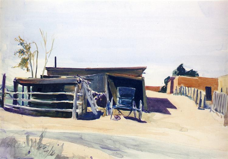 Adobes and Shed, New Mexico, 1925 - Edward Hopper
