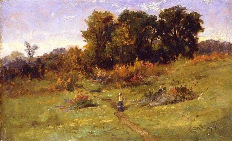 Landscape with Woman Walking on Path - Edward Mitchell Bannister