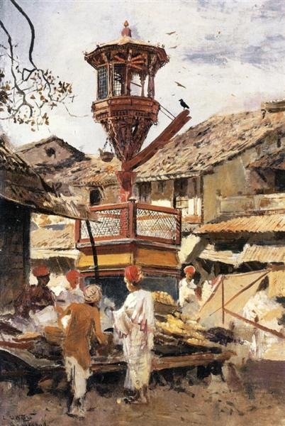 Birdhouse and Market Ahmedabad, India, 1887 - 1892 - Edwin Lord Weeks