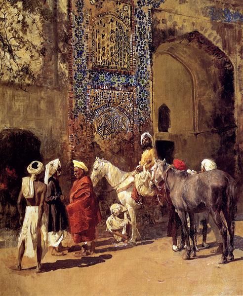 Blue Tiled Mosque At Delhi, India - Edwin Lord Weeks