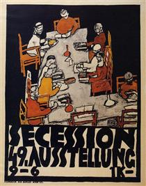 Poster for the Vienna Secession, 49th Exhibition, Die Freunde - Эгон Шиле