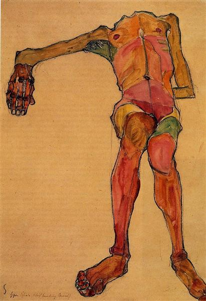Seated Male Nude, Right Hand Outstretched - Schiele Egon