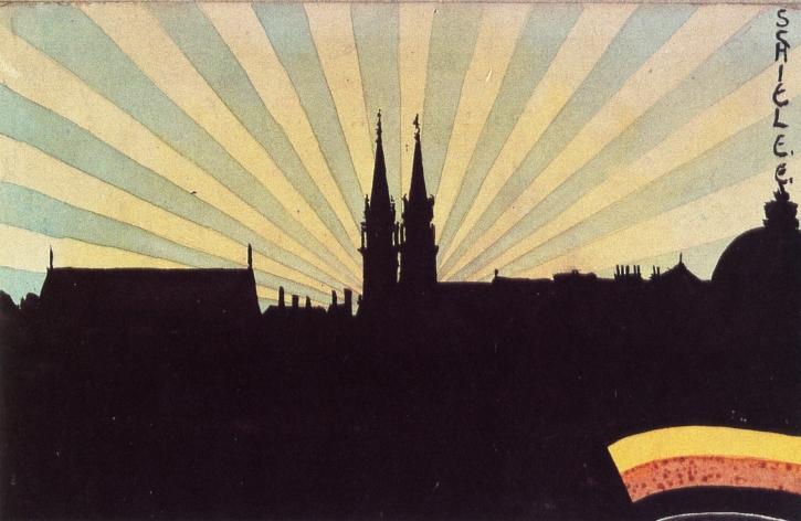 Silhouette of Klosterneuburg, c.1906 - Egon Schiele