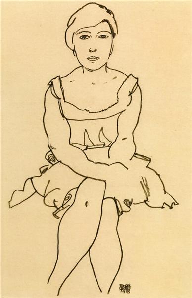 Sitting Woman, 1918 - Egon Schiele