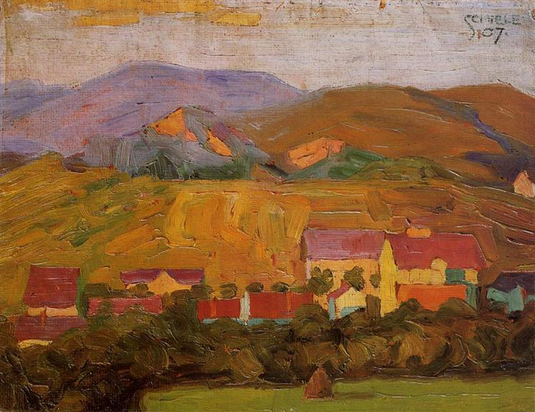 Village with Mountains, 1907 - Egon Schiele