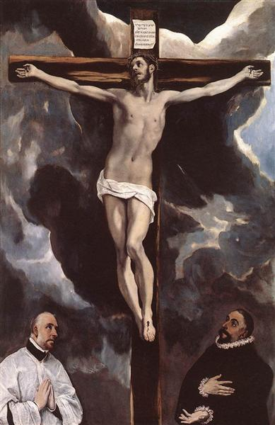 Christ on the cross adored by two donors, c.1590 - El Greco