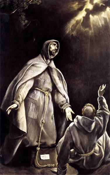 St Francis's vision of the flaming torch, c.1605 - El Greco