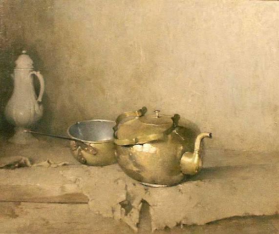 Brass Kettle with Porcelain Coffee Pot, 1910 - Emil Carlsen