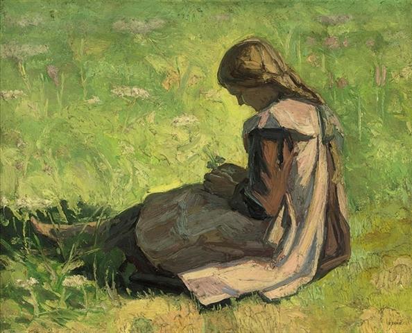 Girl sitting in the grass - Emmanuel Zairis