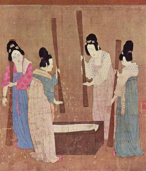 Women preparing silk (after Zhang Xuan) - Song Huizong