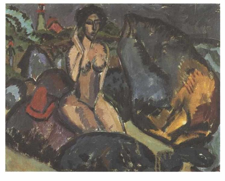 Bathing Woman between Rocks - Ernst Ludwig Kirchner