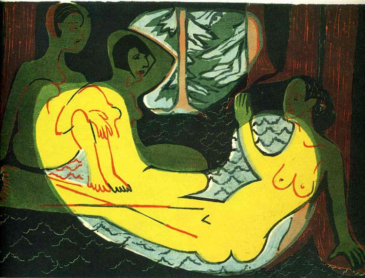 Three Nudes in the Forest - Ernst Ludwig Kirchner