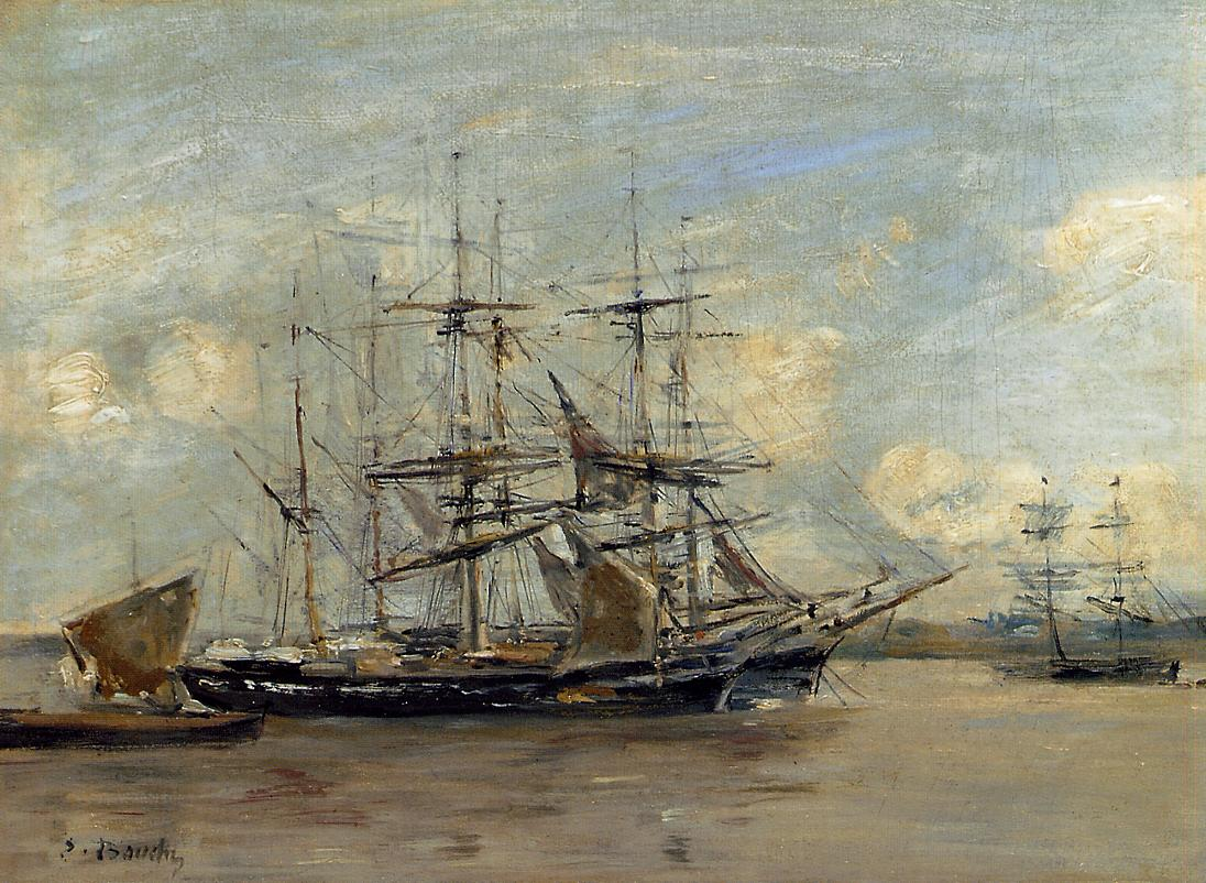 Le Havre, Three Master at Anchor in the Harbor, 1879