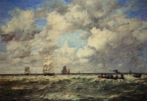 Seascape, Les Lamaneurs - Eugene Boudin