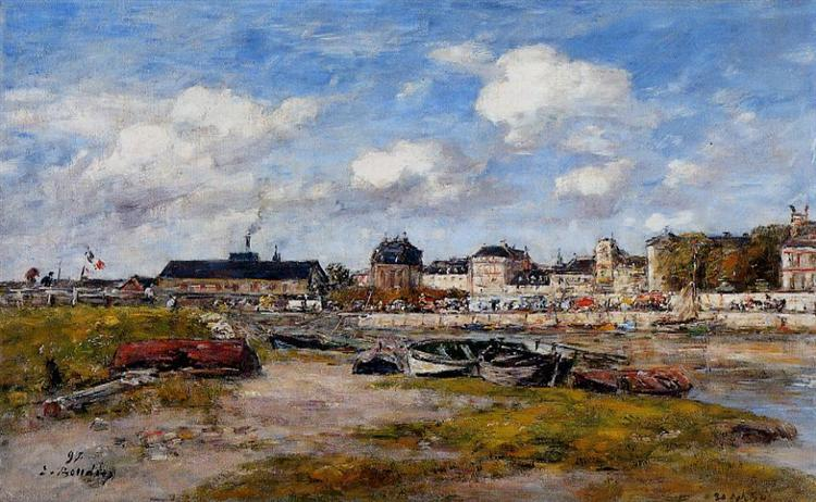 The Port of Trouville, Low Tide, 1897 - Eugene Boudin