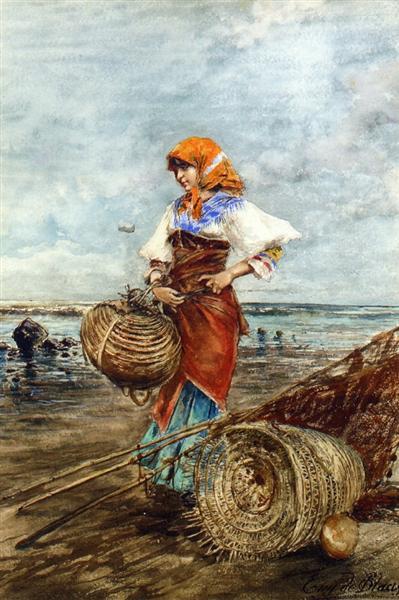 Gathering Cockles at the Seashore - Eugen de Blaas