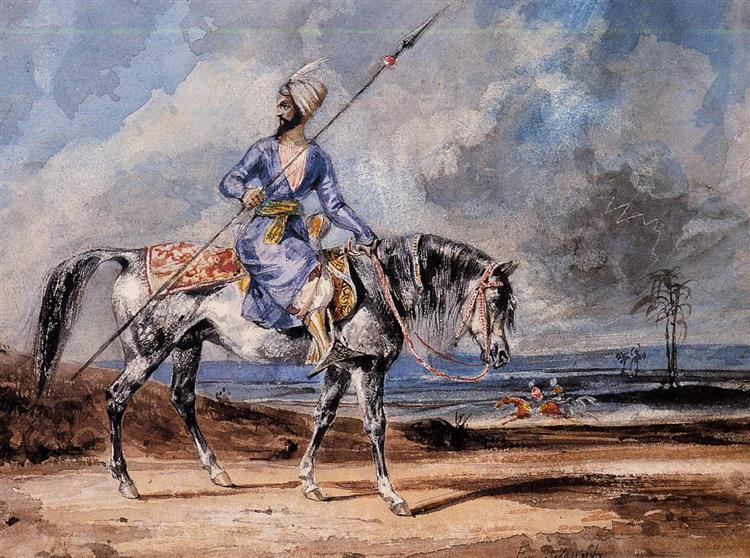 A Turkish Man on a Grey Horse - Eugene Delacroix