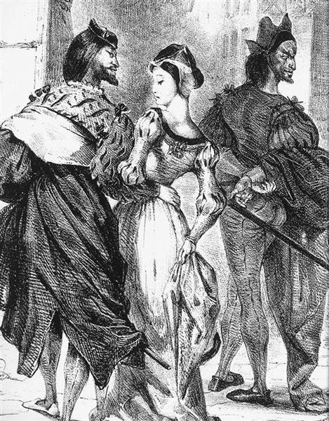 Faust meeting Marguerite, 1828 - Eugene Delacroix