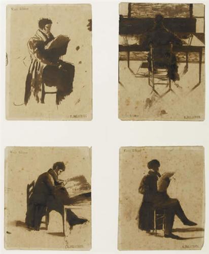 Four Views of men sitting - Eugene Delacroix