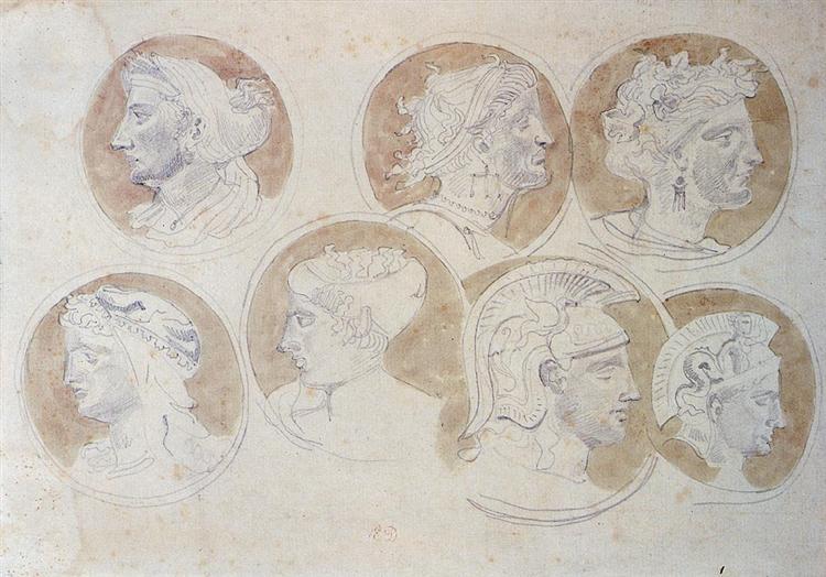 Studies Of Antique Medallions, 1825 - Eugene Delacroix