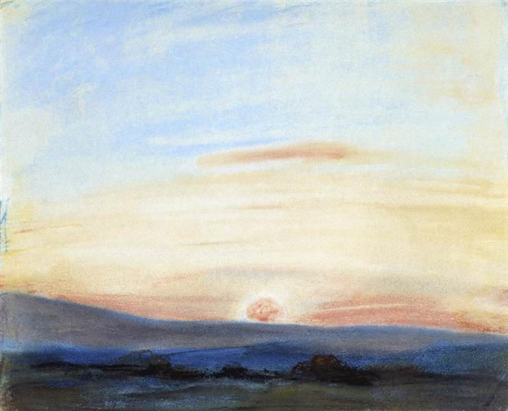 Study of Sky, Setting Sun, 1849 - Eugene Delacroix