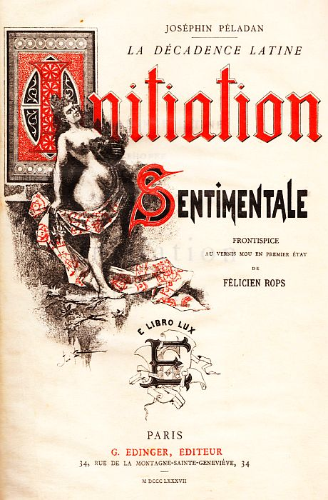 Front Cover of Joséphin Péladan's Novel 'Initiation Sentimentale', 1887