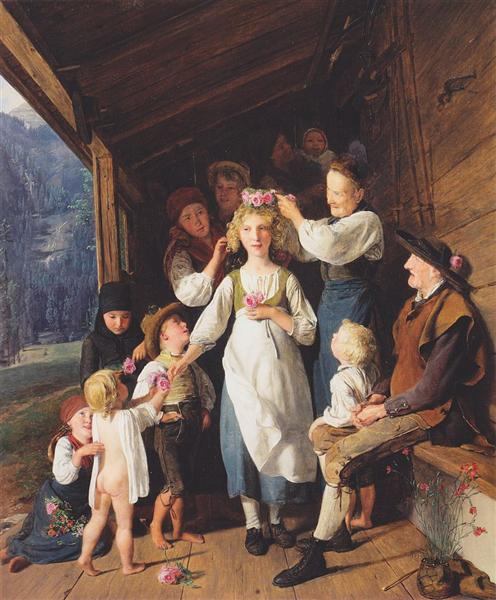 Maid with garland, 1843 - Ferdinand Georg Waldmüller