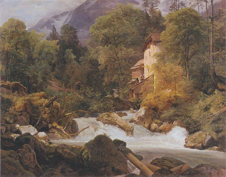 Mill at the outlet of the Königssee, 1840 - Ferdinand Georg Waldmüller