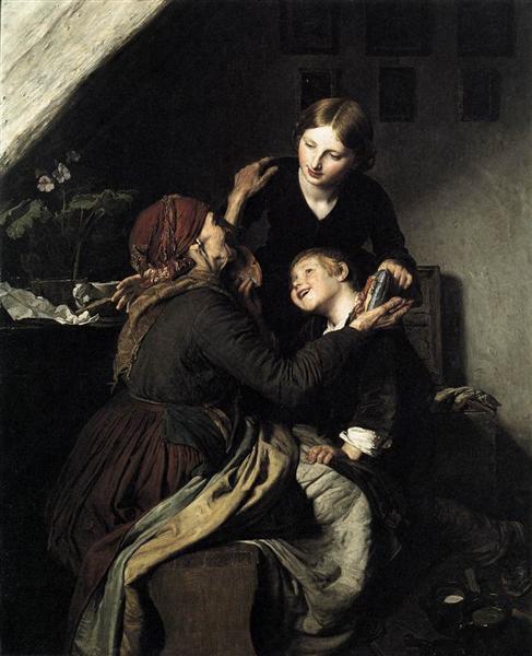 The Grandmother's Birthday, 1856 - Ferdinand Georg Waldmüller