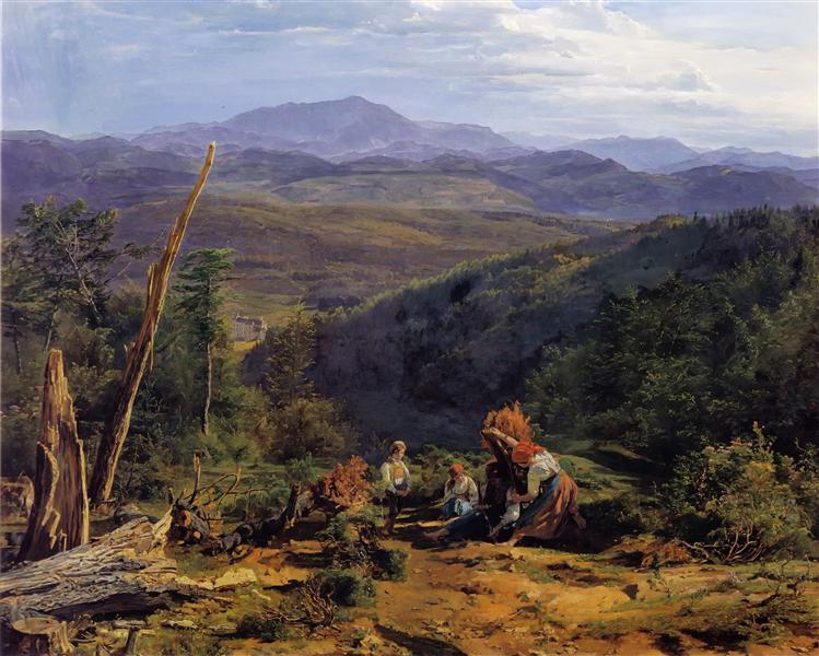 Wienerwald landscape with Wildegg castle, 1855 - Фердинанд Георг Вальдмюллер
