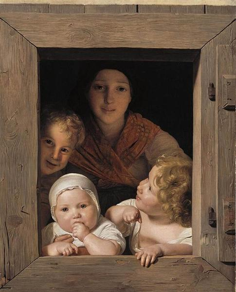 Young Peasant Woman with Three Children at the Window, 1840 - Ferdinand Georg Waldmüller